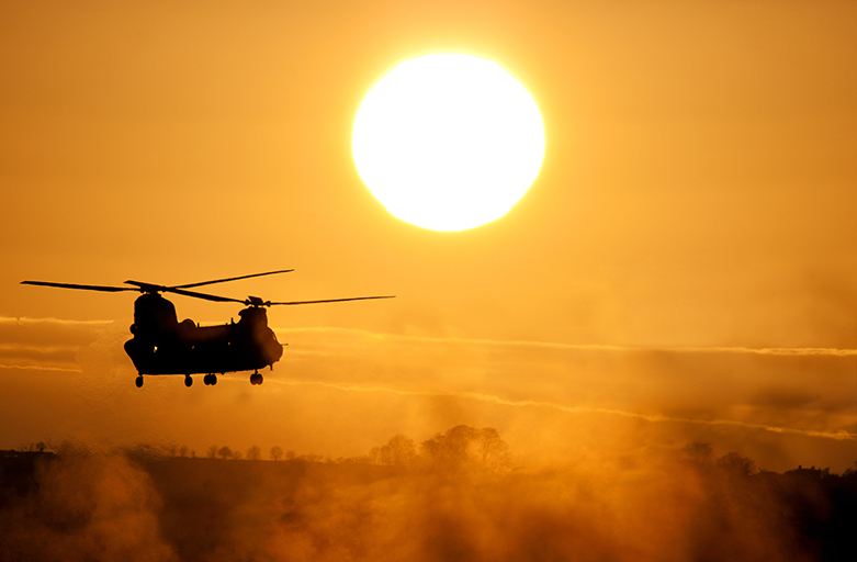 CH-47 Helicopter at Sunset